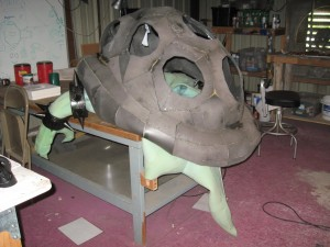 Rear view of the shell. The exterior will be covered in spray adhesive, then fiberglass mat, then a few coats of resin, sanded and carved, to simulate the carapace of an ancient, battle-hardened tyrant.