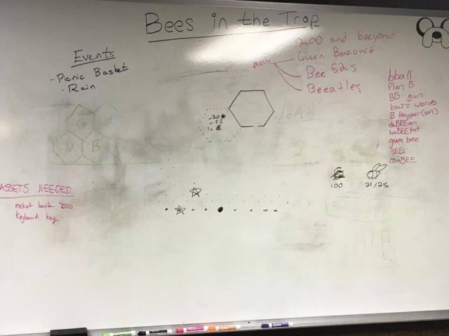 Whiteboard with some early mechanics sketches and a lot of puns.