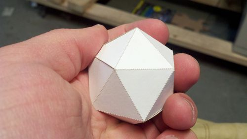 Regular Icosahedron made from cardstock and designed in Pepakura